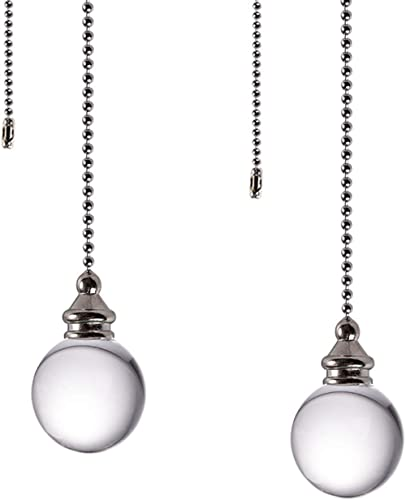 Ceiling Fan Pull Chain, 2pcs Clear 30mm Diameter Crystal Ball Fan Pull Chain , 20 Inches Fan Pulls Set with Connector...