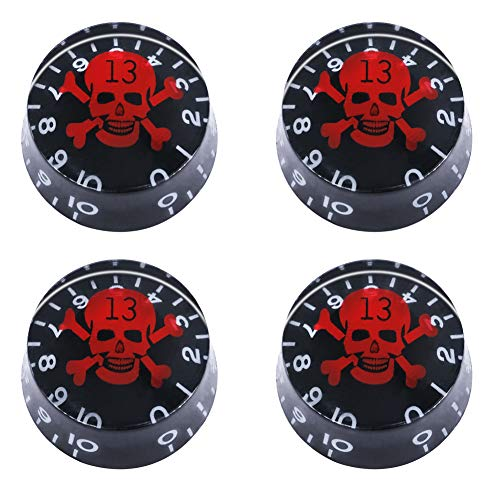 mxuteuk 4pcs Black with Red Skull Electric Guitar Bass Top Hat Knobs Speed Volume Tone AMP Effect Pedal Control Knobs KNOB-S10