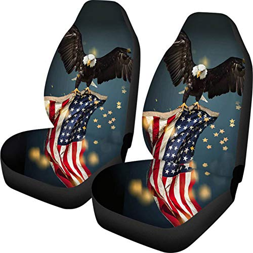 ELEQIN SEANATIVE Patriotic Seat Covers,American US Flag with Eagle Auto Front Seat Cover for Truck Sedan SUV, 2 Packs Car Seats Protector Accessories
