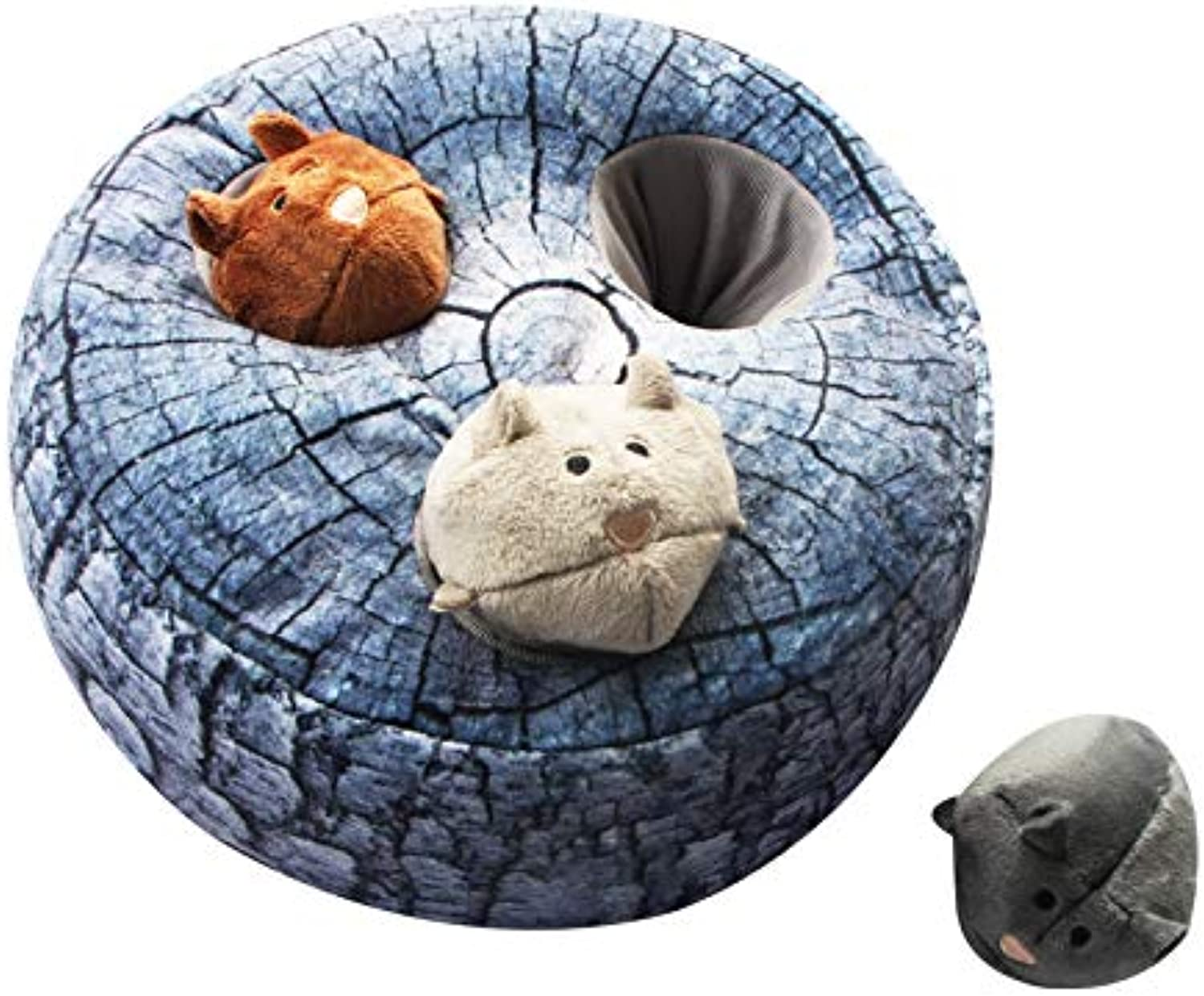 AIPINQI Dog Squeaky Toys Large Hide and Seek Puzzle Plush Dog Toy Durable Interactive Dog Toys for Large Medium Small Dogs, Pets, Christmas Dog Toy, Grey