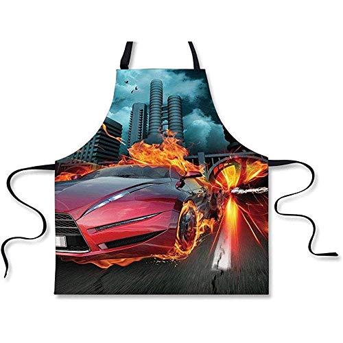 BBQ Apron, Auto's, Hot Red Concept Auto in Vlammen Blazing Banden Bouwen en Vogels Snelle Decoratieve, Rood Oranje Blauw, Schort