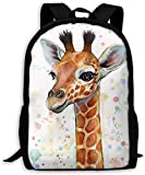 TTmom Mochilas Tipo Casual,Bolsa de Viaje Baby Giraffe Watercolor Painting Unisex Backpack Shoulder Bag School Backpack Travel Bags Laptop Backpack
