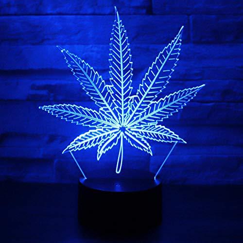 DAJIE Luz nocturna LED 3D, nueve pétalos de pétalos, acción en 7 colores, ilusión óptica, lámpara de mesa, decoración del hogar, modelo