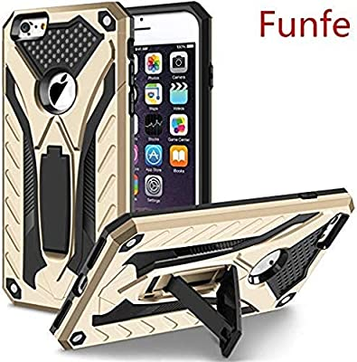 Funfe Heavy Duty Built-in Kickstand Protective Cases Compatible with Apple iPhone 6 Plus/6s Plus 5.5 Inch Back Cover(Gold)