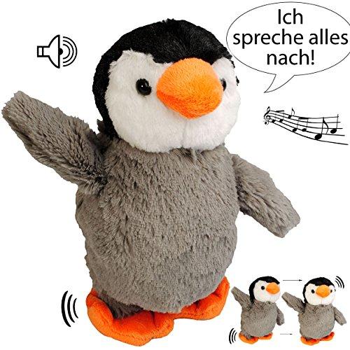 NACH sprechender - Pinguin / Vogel -  Ich spreche Alles nach & laufe dazu  - aus Stoff / Plüsch - Plüschtier - mit Sound & Bewegung - spricht & plappert - S..