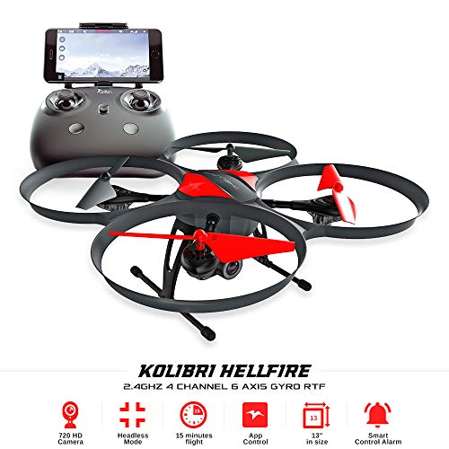 Kolibri Hellfire - Best Quadcopter Drone Wide-Angle Camera with Live Video Feed FPV 720P HD Headless...