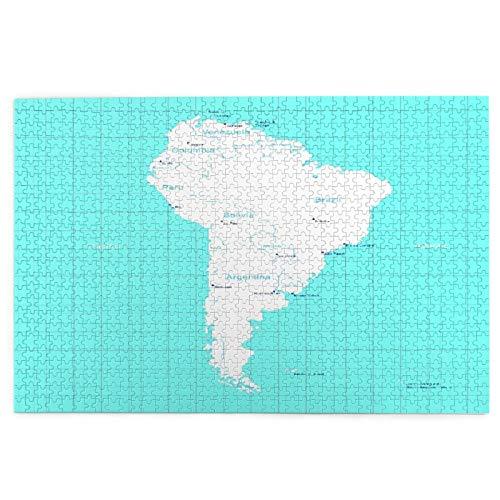 KIMDFACE Rompecabezas Puzzle 1000 Piezas,Colombia Mapa Isométrico América del Sur Paraguay Quito,Puzzle Educa Inteligencia Jigsaw Puzzles para Niños Adultos