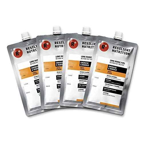 Resilient Nutrition Long Range Fuel – Energise & Rebuild Coffee & Pecan – 4 x 100g Pouches - Sugar Free Natural Energy Nut Butter