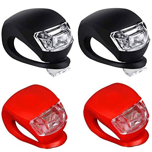 Grunda Kinderwagenlicht (4 Stück) mit heller LED & 3 Leuchtfunktionen inkl. CR 2032 Batterien, Sehen und gesehen werden mit dem Kinderwagen, Flexible Silikon Klemmleuchte für mehr Sicherheit