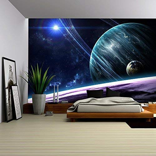 Wall26 Universe Scene With Planets Stars And Galaxies In Outere Showing The Beauty