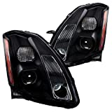 Spec-D Tuning Black Clear Projector Headlights for 2004-2006 Nissan Maxima Head Light Assembly Left + Right Pair