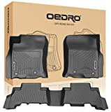 oEdRo Floor Mats Compatible for 2013-2020 Toyota 4Runner / 2014-2020 Lexus GX460, Unique Black TPE All-Weather Guard Includes 1st and 2nd Row: Front, Rear, Full Set Liners
