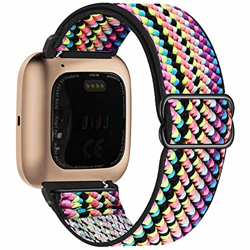 Fengyiyuda Nylon Correa Compatible con Fitbit Versa 2/Versa/Versa Lite/Versa SE,Elástico Bandas Suaves para Relojes Inteligentes, Seporte Hebillas Ajustables,correas de repuesto,Green Arrow