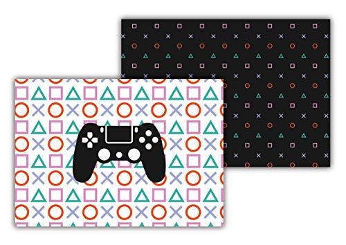 Manteles individuales de papel [Paquete de 50 unidades] Tamaño DIN A3 (42 x 29,7 centímetros). Salvamantel Desechable Antiresbalante. Doble Diseño de PlayStation para Niños y Gamers