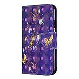 Bear Village iPhone 11 Pro Max Hülle, 3D Glitter Surface Leder Cover Brieftasche Schutzhülle mit Kartenfächern und Ständer Funktion für Apple iPhone 11 Pro Max (#7 Schmetterling)