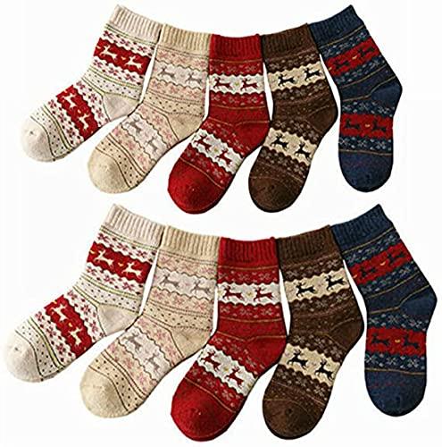 Chagoo 5/10 pares de calcetines de invierno para mujer, calcetines de lana cálidos de Navidad de punto de ciervo de copo de nieve, calcetines de lana cálidos de Navidad para niña mujer (10 pares)