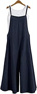 Lncropo Women Large Plus Size Baggy Linen Overalls Casual Wide Leg Pants Sleeveless Rompers Jumpsuit Vintage Haren Overalls