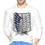 Attack Animetitan - Camiseta de manga larga para hombre, estilo informal, 100% algodón, cuello redondo, manga larga, cómoda, blanco, M