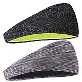 COOLOO Diadema para Hombres, 2 Pack Sweatband Deportiva para Hombre Mujer Unisex, Rendimiento Estiramiento y humectación para Correr Gym Tennis Basketball