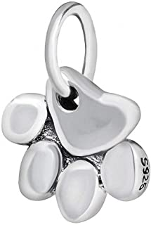 Paw Print Animal Charms 925 Sterling Silver Dangle Large Hole Beads for European Bracelet