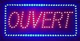 Enseigne lumineuse à LED Ouvert rouge/bleu 48x24x2.5cm