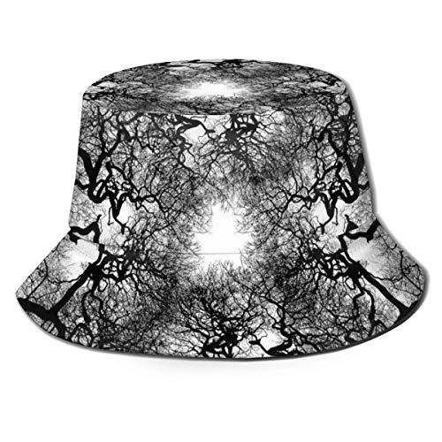 BUXI Printing Fisherman Hat,Abstrakter Schwarzweiss-Baum-Eimer-Hut, Personalisierte Druck-Eimer-Sonnenhüte Für Erwachsene Zum Reiten Klettern Wandern