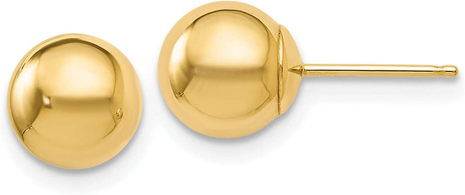 14k Yellow Gold Polished 7mm Ball Post Earrings 7x7 mm