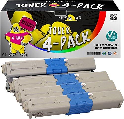 Yellow Yeti 4er Pack C301 C321 Premium Toner kompatibel für Oki C301 C301dn C321 C321dn MC332dn MC342dn MC342dnw MC342dw MC342w