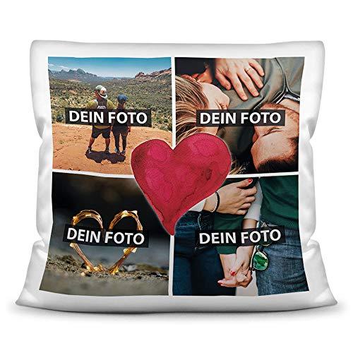 Print Royal Foto-Kissen inkl. Füllung zum Selbstgestalten - mit eigener Collage Bedruckt - Liebe/Familie/Foto-Geschenk/Deko-Kissen/ 40x40 - Polyester...