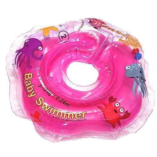 Baby Flotador TÜV GS Cuello Flotador (Tallas 3–12kg (0–24Meses) Flotador para bebé de natación Anillo de baño Ayuda schwi mmtra Iner en pequeño Color Rosa