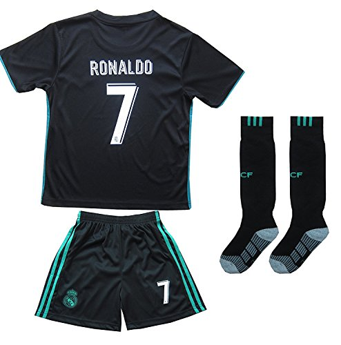 FCM 2017/2018 Real Madrid #7 Ronaldo Kids Away Soccer Jersey & Shorts Youth Sizes (6-7 Years Old)