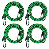 RIO Direct 18 Inch Bungee Cord with Hook, 4 Pack Heavy Duty Bungee Ropes Straps for Outdoor, Luggage Rack, Camping, Tents, Cargo
