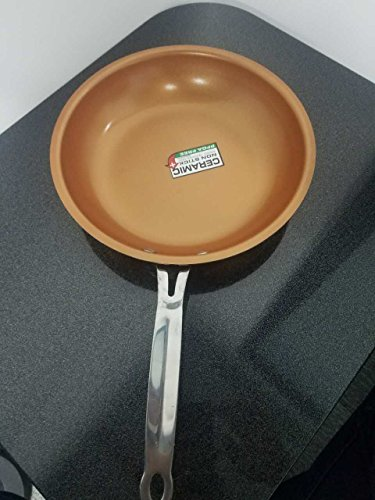Red Copper Fry PanNon-stick Skillet Copper Red Pan Double-deck Safe 10 Inches Nonstick