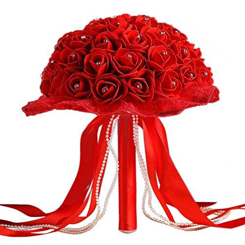 KXN Wedding Bridal Bouquet, Handmade Crystal Ribbon Rhinestone Wedding Bridesmaid Bouquet,Bridal Artificial Flowers for Wedding (Soild Red)
