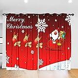 QHDXL Cortinas Opacas Aislantes luz Carro De Navidad Rojo Cortina Habitacion Dormitorio Moderno para Ventanas de Salón y Cocina con Ojales Aislamiento Térmico 2 Paneles 85 X 200 cm