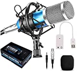 RVF Generic Sound Studio Recording Dynamic Professional BM-800 Condenser Microphone Set, Blue