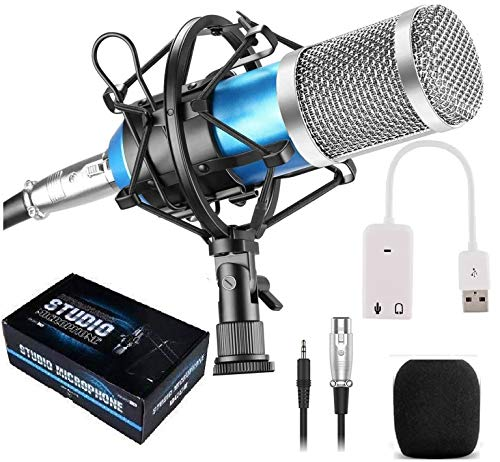 Techtest Sound Studio Recording Dynamic Professional BM-800 Condenser Microphone Set, Blue (Requires phantom power connection) Microphone And Sound Card