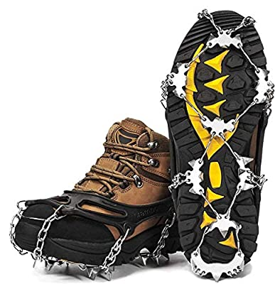 Wirezoll Crampons, Stainless Steel Ice Traction Cleats for Snow Boots and Shoes, Safe Protect Grips for Hiking Fishing Walking Mountaineering etc. (Black, M)