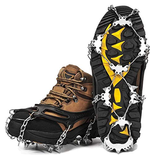 Wirezoll Crampons Stainless Steel Ice Traction Cleats for Snow Boots and Shoes Safe Protect Grips for Hiking Fishing Walking Mountaineering etc Black L / XL
