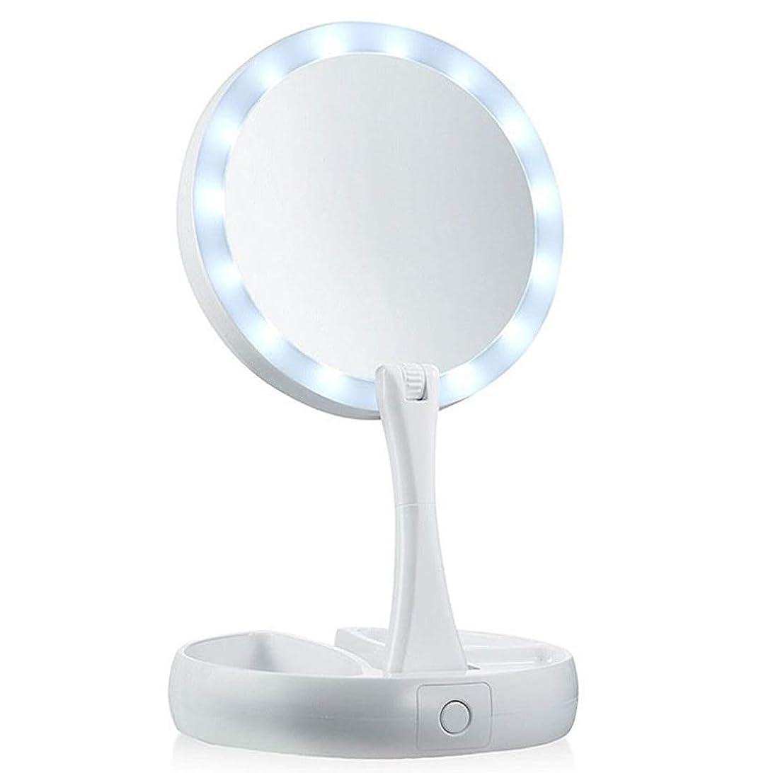 失態単語明確な女優ミラー 卓上LEDライト丸鏡 照明つき化粧台 裏面10倍拡大鏡 瞳がきれいに光るリングライト