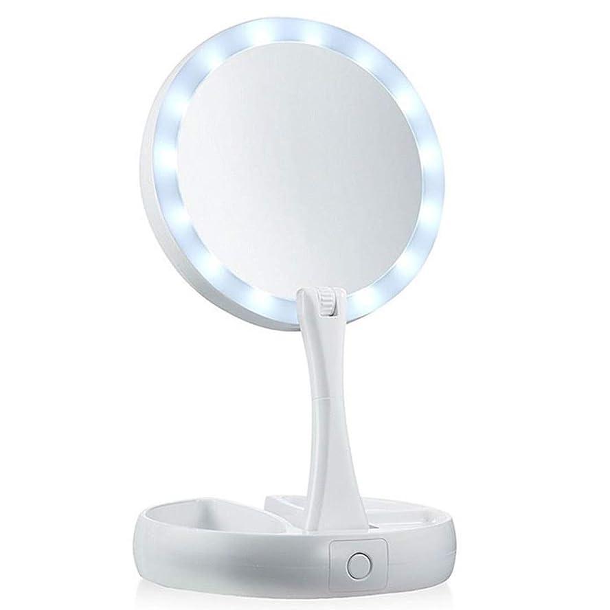ラケット主婦保持女優ミラー 卓上LEDライト丸鏡 照明つき化粧台 裏面10倍拡大鏡 瞳がきれいに光るリングライト