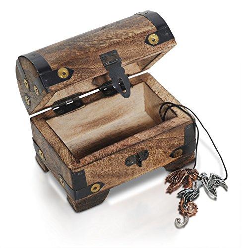 Brynnberg Set - kleine Schatztruhe 11x7x7cm mit Lederkette und Anhänger Schatzkiste Mittelalter Holz massiv braun Spardose Schatulle Bauernkasse Geschenkset - Holztruhe