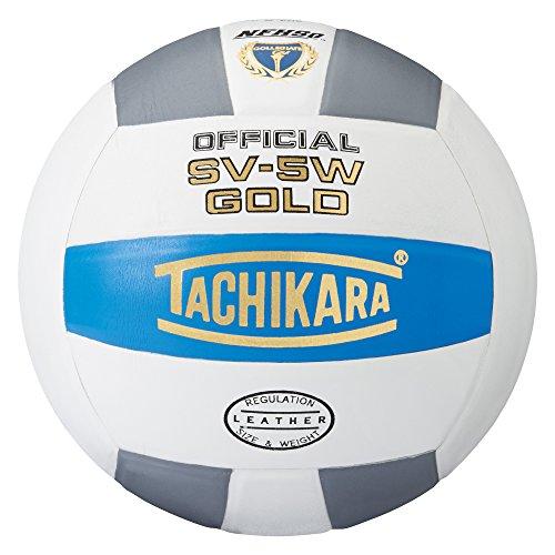 Tachikara Sv5W Gold Competition Premium Leder Volleyball (College Blue/White/Silver Gray)