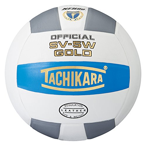 Tachikara Sv5W Gold Competition Premium Leather Volleyball (College Blue/White/Silver Gray)