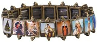 JMJ Products, LLC Beautiful Antiqued Gold Bracelet of Virgin Mary