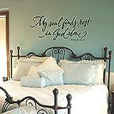 Citas de la Biblia Mi alma descansa sola en Dios Salmos Biblia cristiana Pegatinas de pared de vinilo Baño Decoración de la pared del hogar Calcomanías de pared Letras