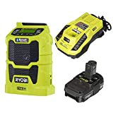 Ryobi P742 18V Cordless Compact AM / FM Radio w/ Wireless Bluetooth Technology with Charger and Lithium-ion battery (P128) (Renewed)