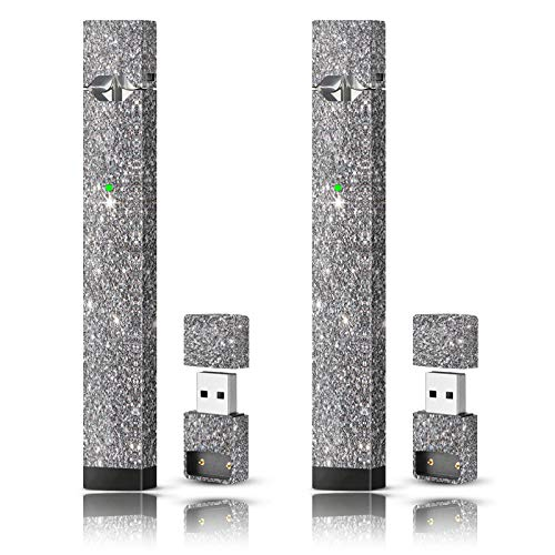 Skin Vinyl Sticker Decal and Charger Skin (2 Pack) - Silver Sparkle
