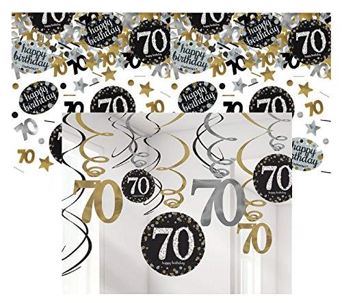 Feste Feiern Party-Deko 70. Geburtstag 13 Teile Dekoration Deckenhänger Swirl Tischkonfetti Gold Schwarz Silber metallic Tischdeko Happy Birthday 70