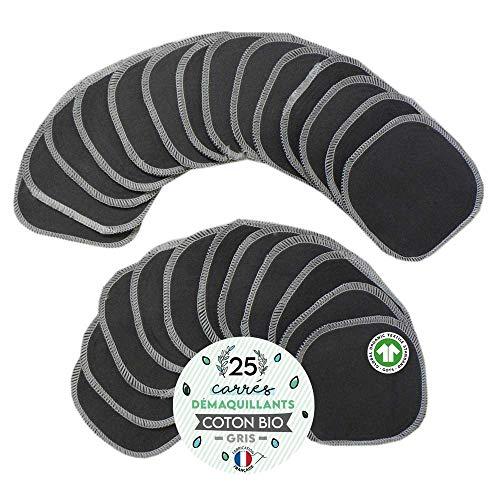 25 Carrés Démaquillants, lingettes COTON BIO GRIS, Fabrication 100% FRANÇAISE, Lavables et Réutilisables, Double épaisseur - Tampons démaquillants même waterproof, make-up pads écologiques